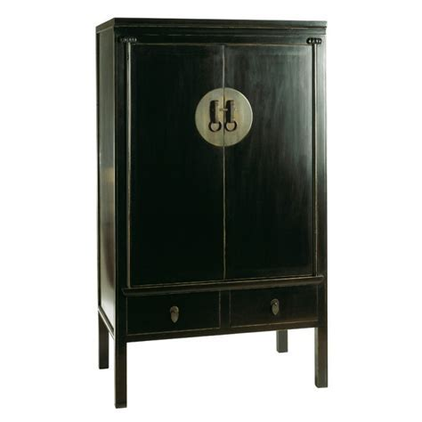 Oriental Storage Cabinet or Wardrobe Distressed Lacquer