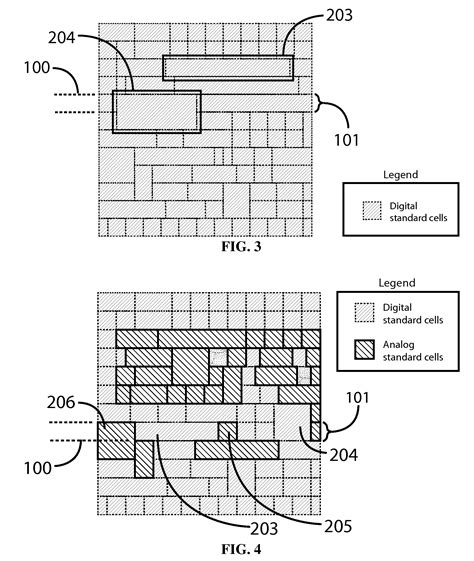 design layout using standard cell based patent us20130042216 row based analog standard cell