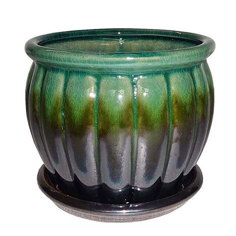 Green Ceramic Planter by Shop Garden Treasures 4 72 In X 4 72 In Metallic Green