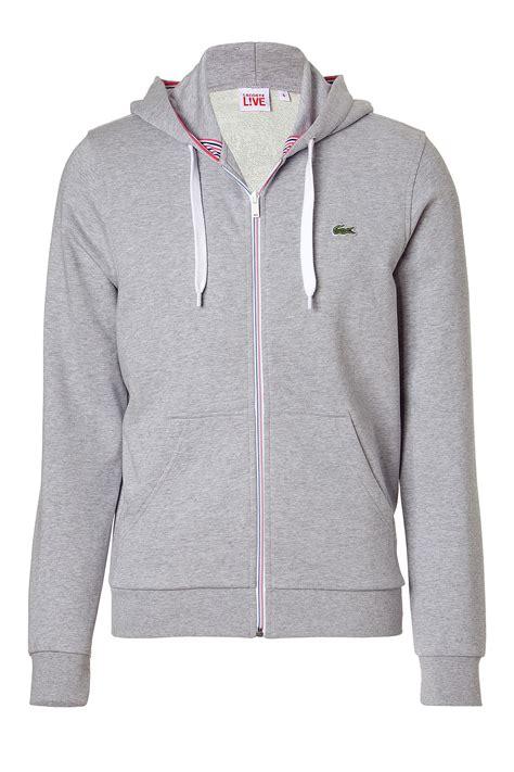 Hoodie Zipper Sweater Lacoste 1 lacoste silvergrey melange zip hoodie jacket in gray for silver lyst