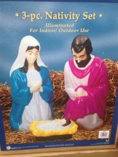 3 pc holographic lighted christmas outdoor nativity scene set 3 pc holy family mold nativity set lighted decoration new molds