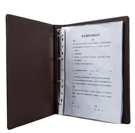 a4 pu leather cover leather ring binder organizer soft