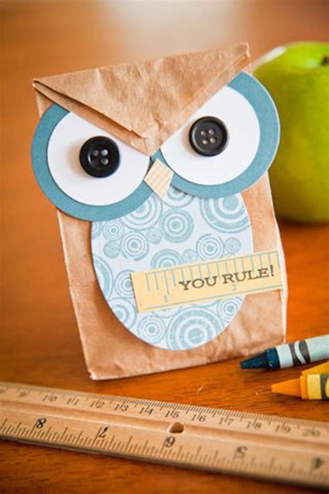 Owl Paper Bag Craft - 25 totally awesome back to school craft ideas