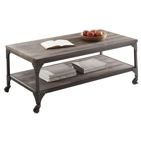 Acme Coffee Table Acme Gorden Coffee Table With Casters In Weathered Oak 81445