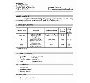 400 resume format samples freshers experienced - Resume Format For Freshers Bca