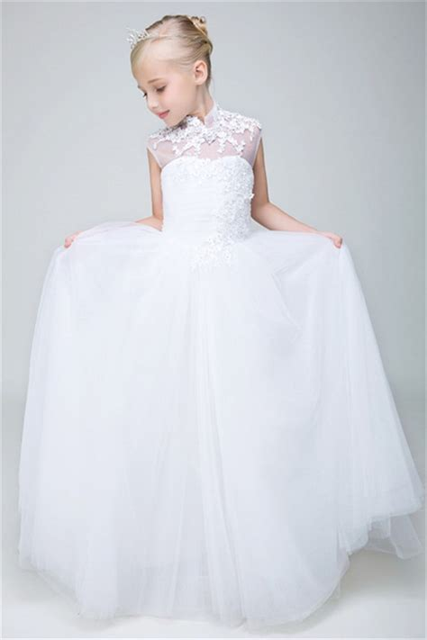 High Neck Sleeve A Line Dress a line high neck cap sleeve tulle lace flower dress