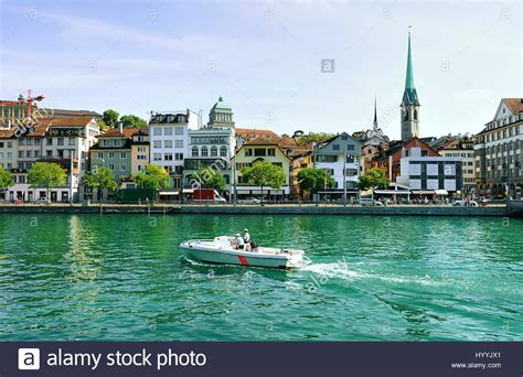 boat buy zurich fraumunster church and motor boat limmat river quay in the