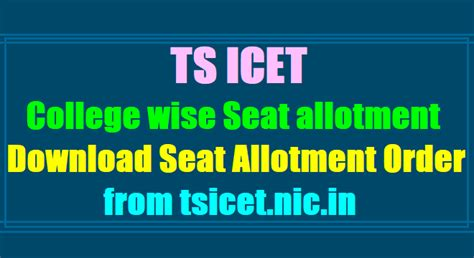 Icet Mba Colleges by Ts Icet 2018 College Wise Seat Allotment Results Call
