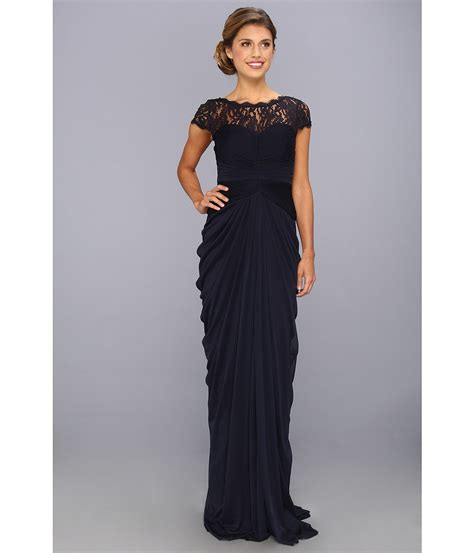 Adrianna Papell Draped Illusion Lace Neckline Gown Edwardian Gowns Inspired Evening And Formal Dresses