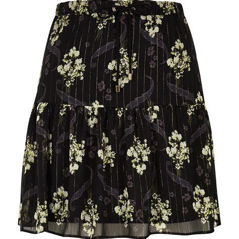 Mini Floral Skirt Black black floral print tiered mini skirt mini skirts
