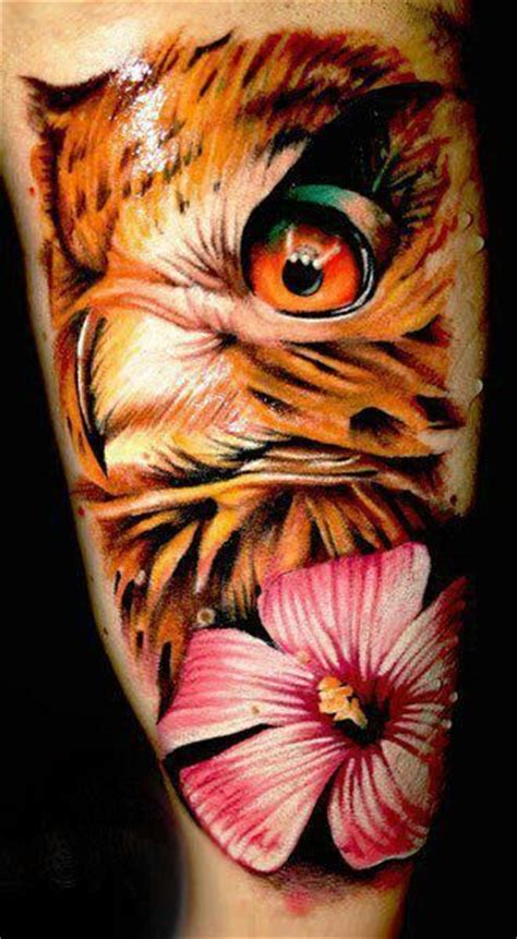 owl tattoo orange eyes brown owl with orange eye