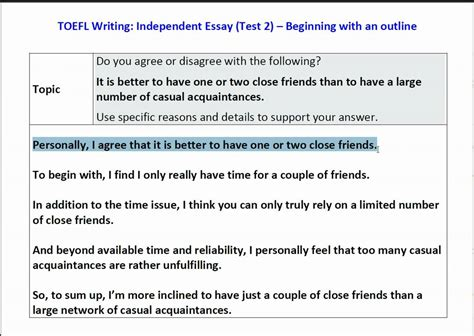 essay format toefl toefl ibt independent essay sle topic how to outline