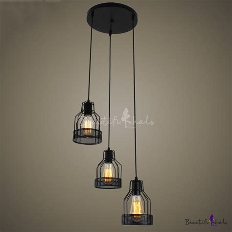 Black Dining Room Chandelier Industrial Dining Room 3 Light Led Multi Light Pendant With Black Metal Wire Mesh