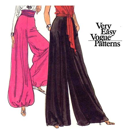 pattern pants disco 70s vogue palazzo or harem pants and skirt vintage