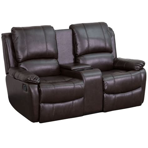 leather theater recliner allure series 2 seat reclining pillow back brown leather