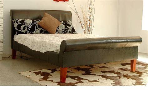 Kingsize Leather Bed Frame Real Leather Bed Frame Kingsize Black Brown Homegenies