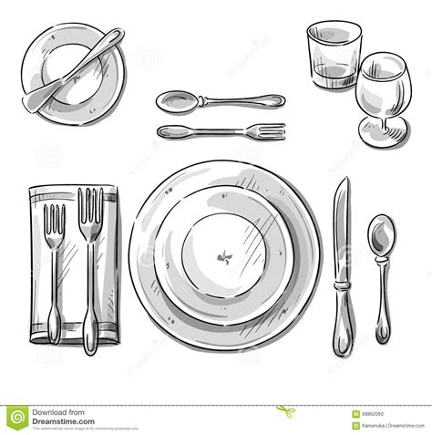 table layout vector table setting vector sketch stock vector illustration