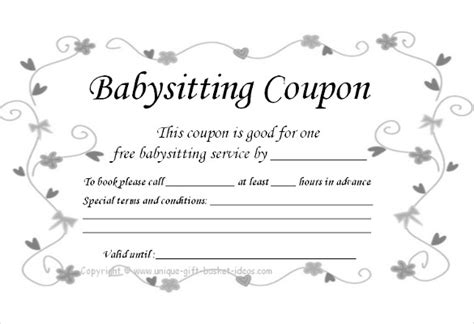 printable coupon template baby sitting coupon template 10 free printable pdf