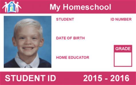 home school id card photoshop template free printable homeschool student id card