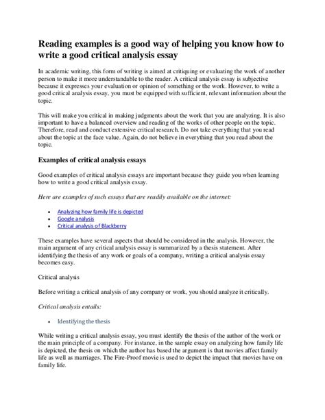How To Write An Analysis Essay On A Book by How To Write A Critical Analysis Essay