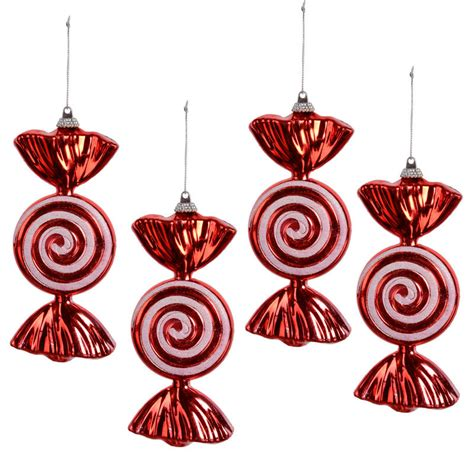 set of 4 red wrapped sweet candy with glitter swirl
