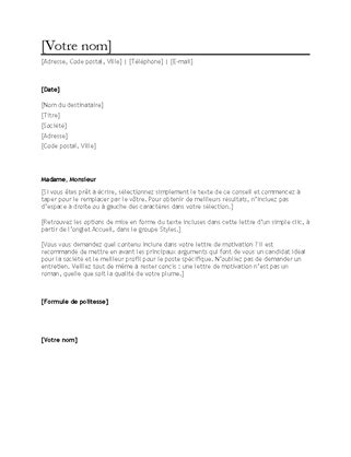 Exemple Lettre De Motivation Word 2007 modele lettre de motivation word