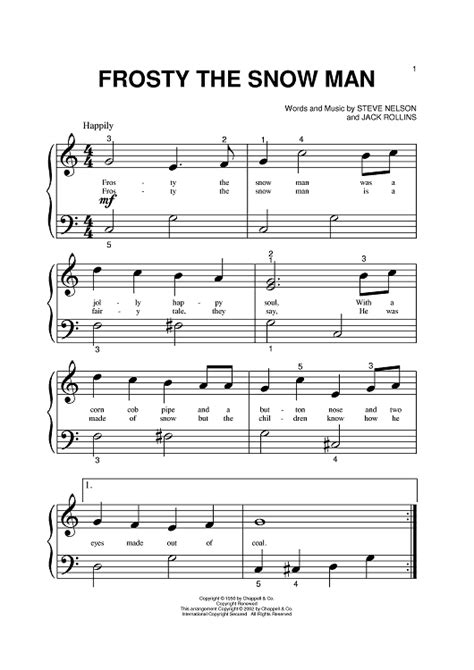 printable lyrics to frosty the snowman frosty the snowman piano sheet music google search