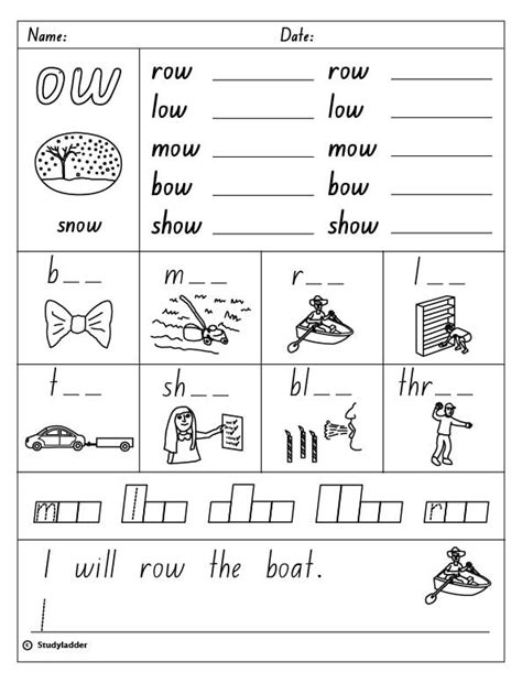 Ow Worksheets by Vowel Digraph Quot Ow Quot As In Snow Skills