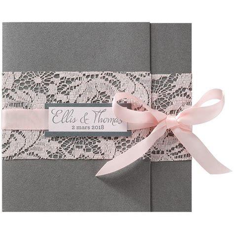 Hochzeitseinladung Altrosa by Faire Part Mariage Romantique Gris Dentelle Ruban Roses