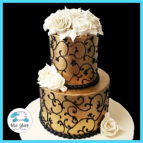 gold and black buttercream birthday cake – blue sheep bake