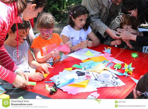 s day in the park children painting and creativity editorial