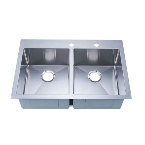 2 Sinks In Kitchen Stufurhome Nationalware Overmount Stainless Steel 33 In 2 Bowl Kitchen Sink In