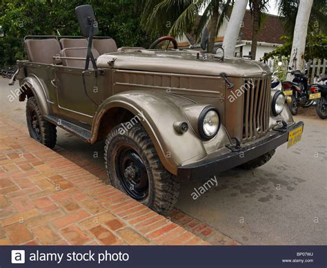 jeep russian old russian uaz jeep in luang prabang northern laos stock