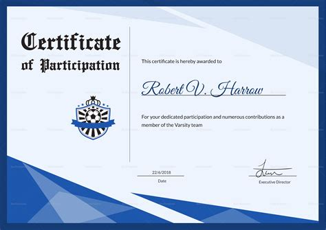 football award certificate design template in psd word