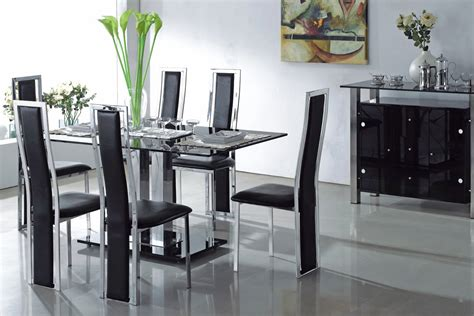 modern glass dining room sets dining room amazing black dining table set black dining