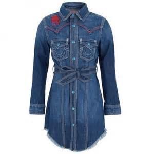 True religion girls embroidered denim shirt dress alexandalexa