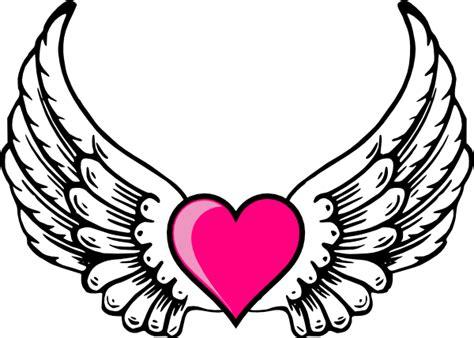 wings  pink heart clip art  clkercom vector clip art
