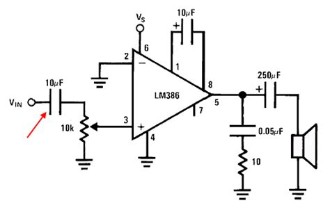 capacitor between input and output audio from arduino due s analog outputs using lm386 electrical engineering stack exchange