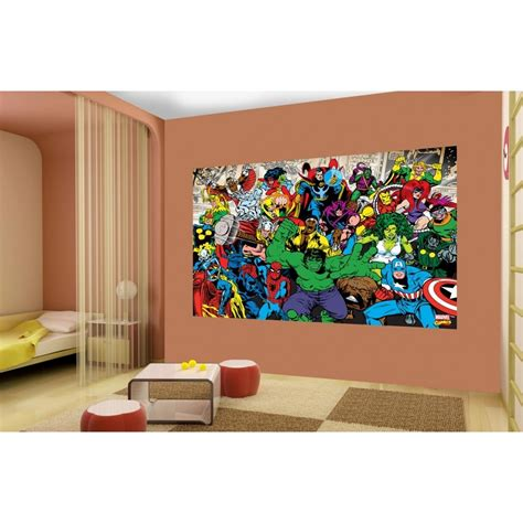 Adhesive Wallpaper 1 wall marvel avengers hulk ironman wallpaper mural 1 58m