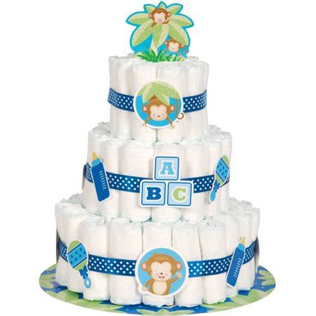 blue monkey baby shower diaper cake kit pc walmartcom