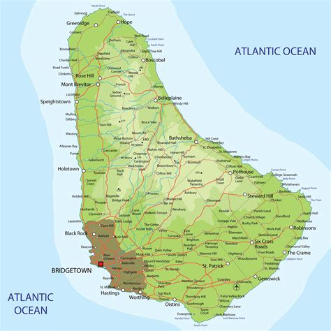 Barbados Search Large Detailed Physical And Road Map Of Barbados Barbados Large Detailed Physical And