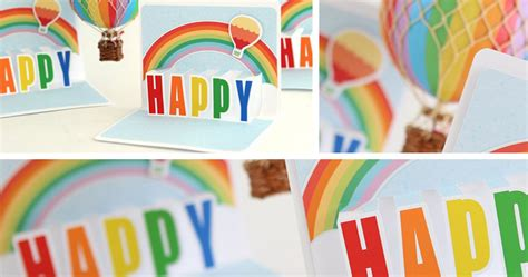 Rainbow Pop Up Card Template by Lettering Delights