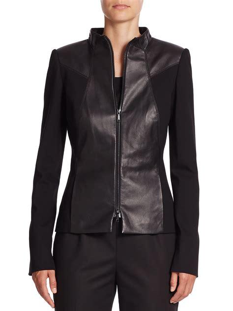 black ponte knit blazer lafayette 148 new york leather ponte knit jacket