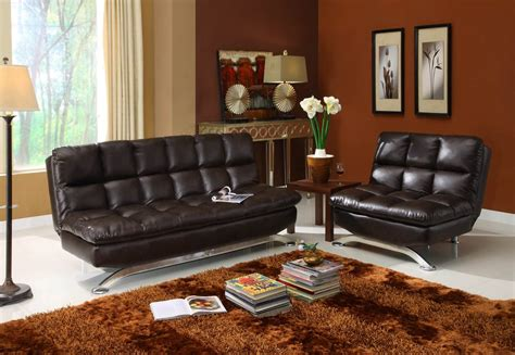 futons 4 less pillowtop faux leather sofa bed futon with matching chair