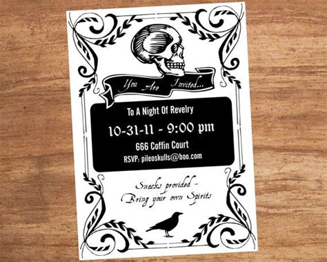 printable halloween invitations black and white halloween black and white skeleton custom printable party