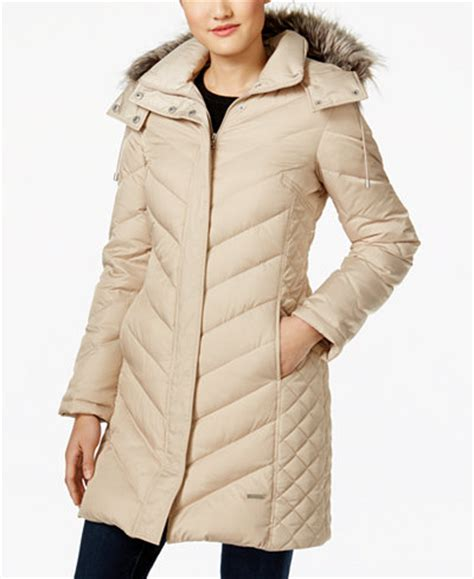 Kenneth Cole Chevron Quilted Coat by Kenneth Cole Faux Fur Trim Chevron Quilted Coat