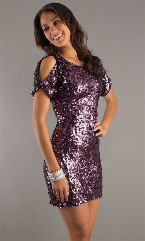dave  johnny dress short sequin dress
