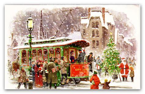 Images Of Vintage Christmas Scenes | vintage christmas card trolley winter scene 1970 christmas