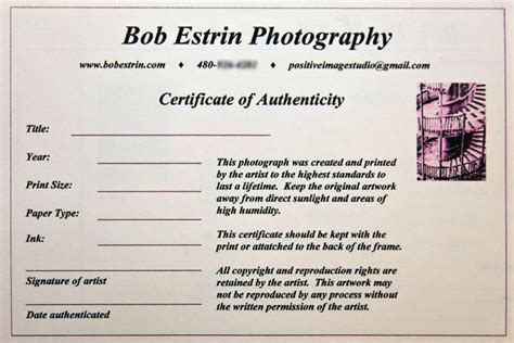 certificate of authenticity photography template selling your at an show or festival