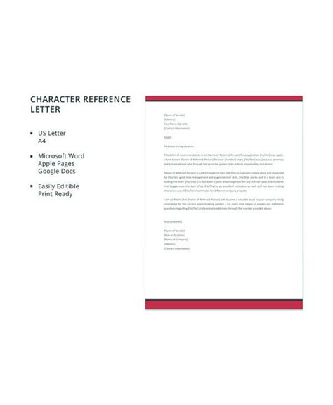 sample character reference letter templates